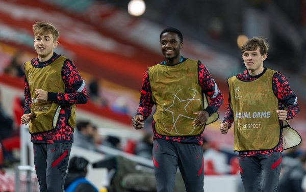 LIVERPOOL, ENGLAND - Wednesday, November 25, 2020: Liverpool's substitutes L-R Jake Cain, Billy Koumetio and Leighton Clarkson during the UEFA Champions League Group D match between Liverpool FC and Atalanta BC at Anfield. (Pic by David Rawcliffe/Propaganda)