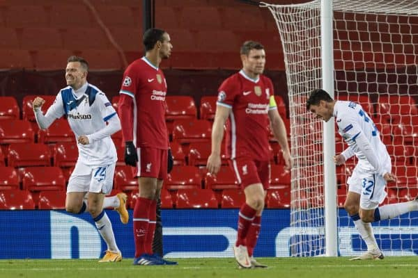 LIVERPOOL, ENGLAND - Wednesday, November 25, 2020: Atalanta's Josip Ilic?ic? celebrates after scoring the first goal during the UEFA Champions League Group D match between Liverpool FC and Atalanta BC at Anfield. (Pic by David Rawcliffe/Propaganda)
