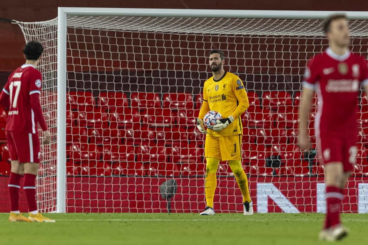 LIVERPOOL, ENGLAND - Wednesday, November 25, 2020: Liverpool's goalkeeper Alisson Becker (R) looks dejected as Atalanta score a second goal to make the score 0-2 during the UEFA Champions League Group D match between Liverpool FC and Atalanta BC at Anfield. (Pic by David Rawcliffe/Propaganda)