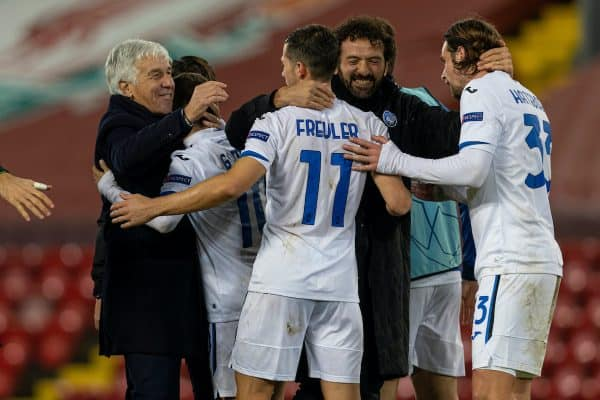 LIVERPOOL, ENGLAND - Wednesday, November 25, 2020: Atalanta's head coach Gian Piero Gasperini (L) celebrates with players after the UEFA Champions League Group D match between Liverpool FC and Atalanta BC at Anfield. Atalanta won 2-0. (Pic by David Rawcliffe/Propaganda)