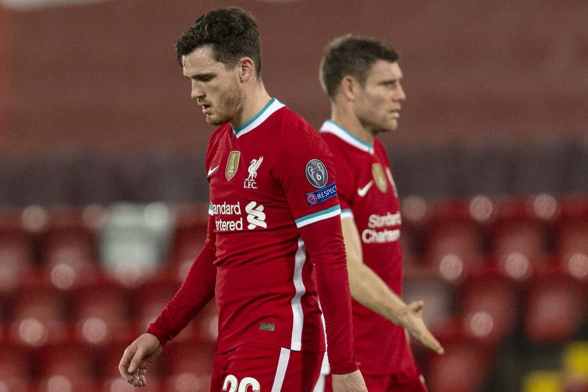 LIVERPOOL, ENGLAND - Wednesday, November 25, 2020: Liverpool's Andy Robertson (L) and James Milner look dejected after the UEFA Champions League Group D match between Liverpool FC and Atalanta BC at Anfield. Atalanta won 2-0. (Pic by David Rawcliffe/Propaganda)