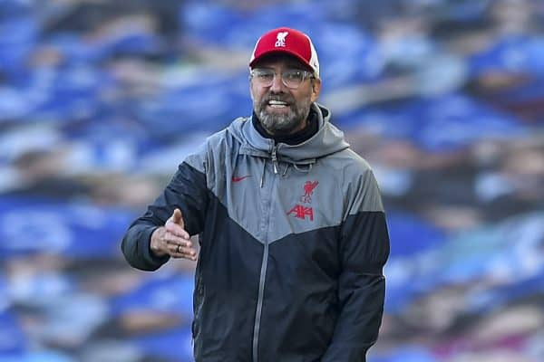 Liverpool's manager Jürgen Klopp reacts during the FA Premier League match between Brighton & Hove Albion FC and Liverpool FC at the AMEX Stadium. The game was played behind closed doors due to the UK government's social distancing laws during the Coronavirus COVID-19 Pandemic. (Pic by Propaganda)