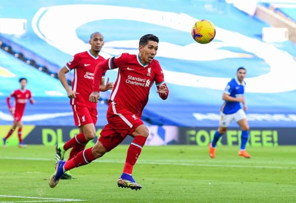 BRIGHTON & HOVE, ENGLAND - Saturday, November 28, 2020: Liverpool's Roberto Firmino during the FA Premier League match between Brighton & Hove Albion FC and Liverpool FC at the AMEX Stadium. The game was played behind closed doors due to the UK government's social distancing laws during the Coronavirus COVID-19 Pandemic. (Pic by Propaganda)