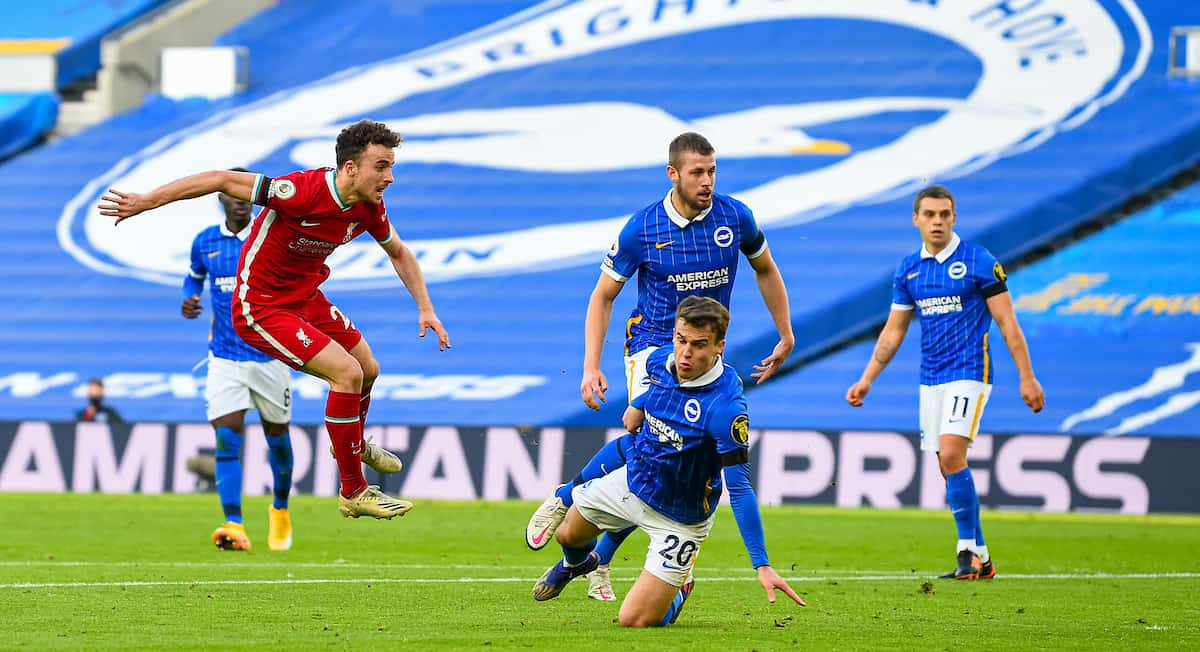 BRIGHTON & HOVE, ENGLAND - Saturday, November 28, 2020: Liverpool's Diogo Jota scores the first goal during the FA Premier League match between Brighton & Hove Albion FC and Liverpool FC at the AMEX Stadium. The game was played behind closed doors due to the UK government's social distancing laws during the Coronavirus COVID-19 Pandemic. (Pic by Propaganda)