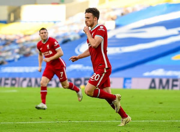 Liverpool's Diogo Jota celebrates after scoring the first goal during the FA Premier League match between Brighton & Hove Albion FC and Liverpool FC at the AMEX Stadium. The game was played behind closed doors due to the UK government's social distancing laws during the Coronavirus COVID-19 Pandemic. (Pic by Propaganda)