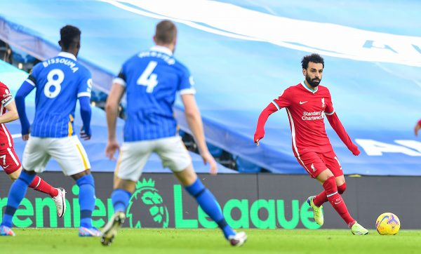 Liverpool's Mohamed Salah during the FA Premier League match between Brighton & Hove Albion FC and Liverpool FC at the AMEX Stadium. The game was played behind closed doors due to the UK government's social distancing laws during the Coronavirus COVID-19 Pandemic. (Pic by Propaganda)