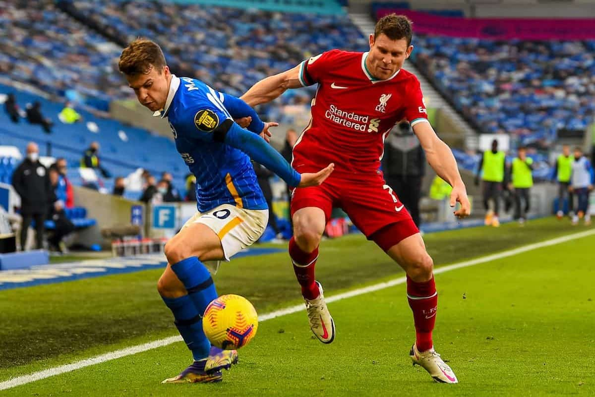 KIRKBY, ENGLAND - Saturday, November 28, 2020: Liverpool's James Milner (R) during the Premier League 2 Division 1 match between Liverpool FC Under-23's and Manchester City FC Under-23's at the Liverpool Academy. (Pic by David Rawcliffe/Propaganda)