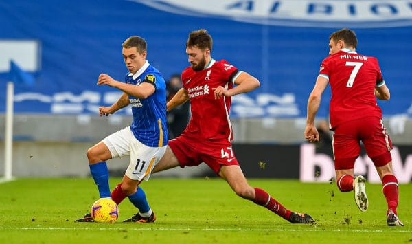 BRIGHTON & HOVE, ENGLAND - Saturday, November 28, 2020: Liverpool's Nathaniel Phillips (R) and Brighton & Hove Albion's Leandro Trossard during the FA Premier League match between Brighton & Hove Albion FC and Liverpool FC at the AMEX Stadium. The game was played behind closed doors due to the UK government's social distancing laws during the Coronavirus COVID-19 Pandemic. (Pic by Propaganda)