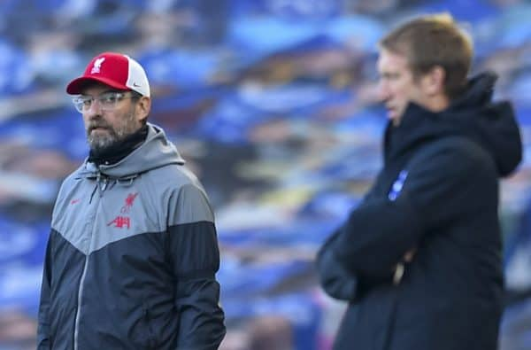 Liverpool's manager Jürgen Klopp during the FA Premier League match between Brighton & Hove Albion FC and Liverpool FC at the AMEX Stadium. The game was played behind closed doors due to the UK government's social distancing laws during the Coronavirus COVID-19 Pandemic. (Pic by Propaganda)