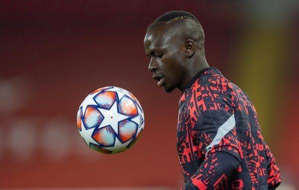 LIVERPOOL, ENGLAND - Tuesday, December 1, 2020: Liverpool's Sadio Mané during the pre-match warm-up before the UEFA Champions League Group D match between Liverpool FC and AFC Ajax at Anfield. (Pic by David Rawcliffe/Propaganda)