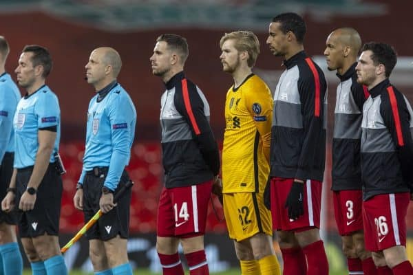 LIVERPOOL, ENGLAND - Tuesday, December 1, 2020: Liverpool's captain Jordan Henderson and goalkeeper Caoimhin Kelleher line-up before the UEFA Champions League Group D match between Liverpool FC and AFC Ajax at Anfield. (Pic by David Rawcliffe/Propaganda)