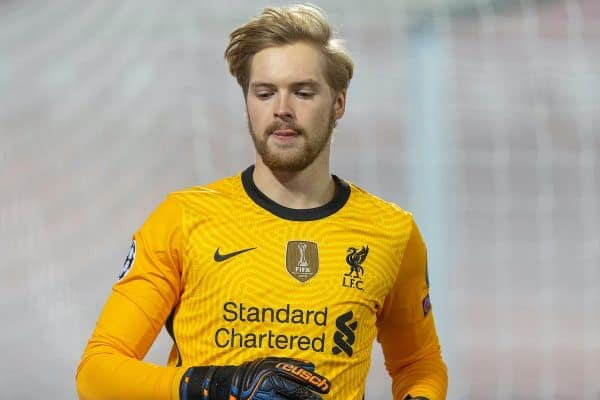 Liverpool's goalkeeper Caoimhin Kelleher during the UEFA Champions League Group D match between Liverpool FC and AFC Ajax at Anfield. (Pic by David Rawcliffe/Propaganda)