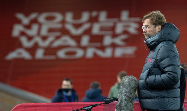 LIVERPOOL, ENGLAND - Tuesday, December 1, 2020: Liverpool's manager Jürgen Klopp gives a television interview before the UEFA Champions League Group D match between Liverpool FC and AFC Ajax at Anfield. (Pic by David Rawcliffe/Propaganda)