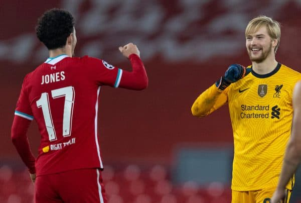 LIVERPOOL, ENGLAND - Tuesday, December 1, 2020: Liverpool's goalkeeper Caoimhin Kelleher (R) celebrates with Curtis Jones after the UEFA Champions League Group D match between Liverpool FC and AFC Ajax at Anfield. Liverpool wo 1-0 and qualified for the Round of 16. (Pic by David Rawcliffe/Propaganda)