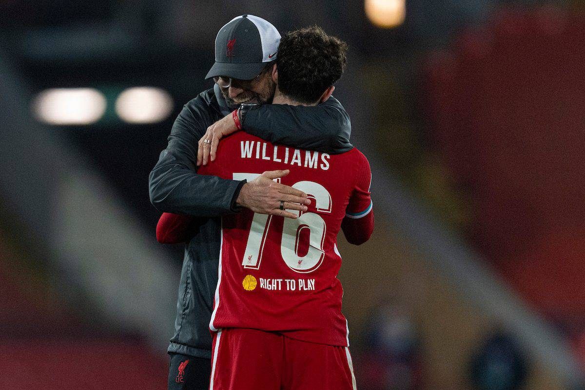 LIVERPOOL, ENGLAND - Tuesday, December 1, 2020: Liverpool's manager Jürgen Klopp embraces Neco Williams after the UEFA Champions League Group D match between Liverpool FC and AFC Ajax at Anfield. Liverpool won 1-0 and qualified for the Round of 16. (Pic by David Rawcliffe/Propaganda)