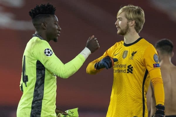 LIVERPOOL, ENGLAND - Tuesday, December 1, 2020: Liverpool's goalkeeper Caoimhin Kelleher (R) and Ajax's goalkeeper André Onana after the UEFA Champions League Group D match between Liverpool FC and AFC Ajax at Anfield. Liverpool won 1-0 and qualified for the Round of 16. (Pic by David Rawcliffe/Propaganda)