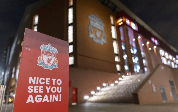 LIVERPOOL, ENGLAND - Sunday, December 6, 2020: Signage as Liverpool prepares to welcome 2,000 spectators back into the stadium, pictured before the FA Premier League match between Liverpool FC and Wolverhampton Wanderers FC at Anfield. (Pic by David Rawcliffe/Propaganda)