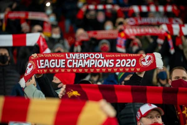 """LIVERPOOL, ENGLAND - Sunday, December 6, 2020: Liverpool supporters sing """"You'll Never Walk Alone"""" before the FA Premier League match between Liverpool FC and Wolverhampton Wanderers FC at Anfield. (Pic by David Rawcliffe/Propaganda)"""