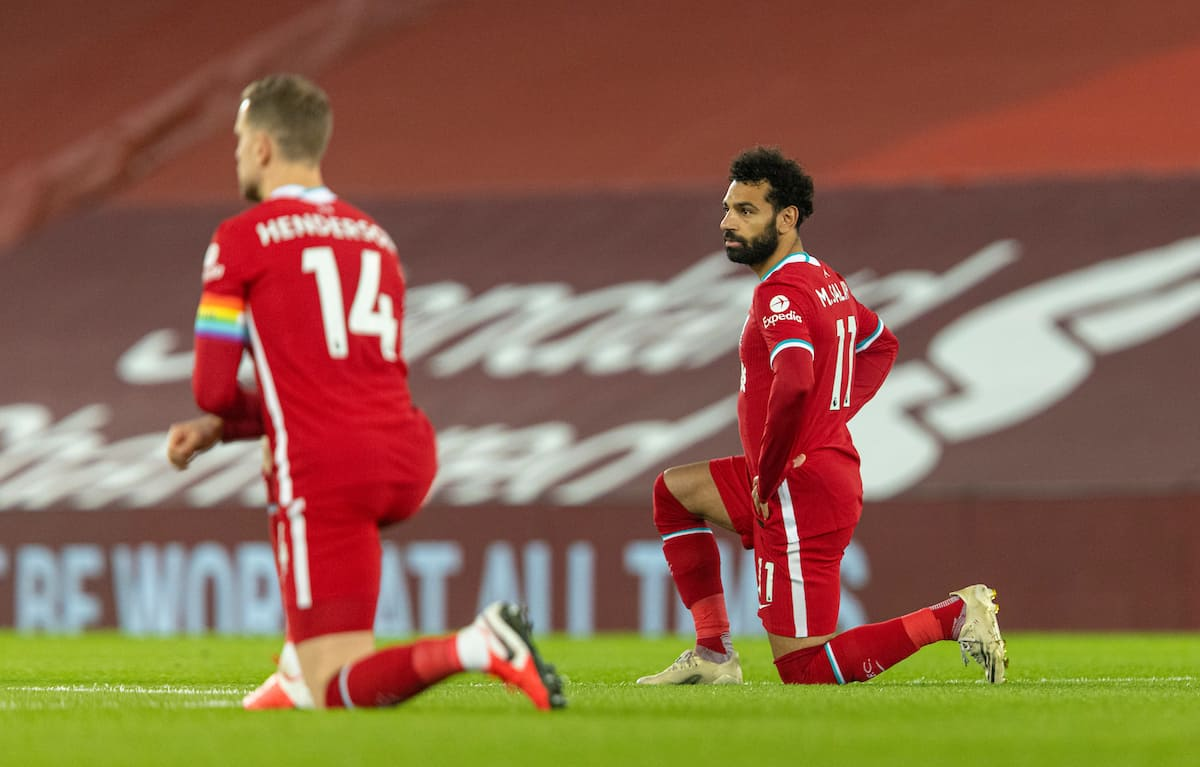 LIVERPOOL, ENGLAND - Sunday, December 6, 2020: Liverpool's Mohamed Salah kneels down (takes a knee) in support of the Black Lives Matter movement before the FA Premier League match between Liverpool FC and Wolverhampton Wanderers FC at Anfield. (Pic by David Rawcliffe/Propaganda)