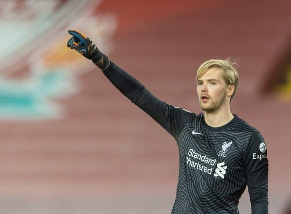LIVERPOOL, ENGLAND - Sunday, December 6, 2020: Liverpool's goalkeeper Caoimhin Kelleher during the FA Premier League match between Liverpool FC and Wolverhampton Wanderers FC at Anfield. (Pic by David Rawcliffe/Propaganda)