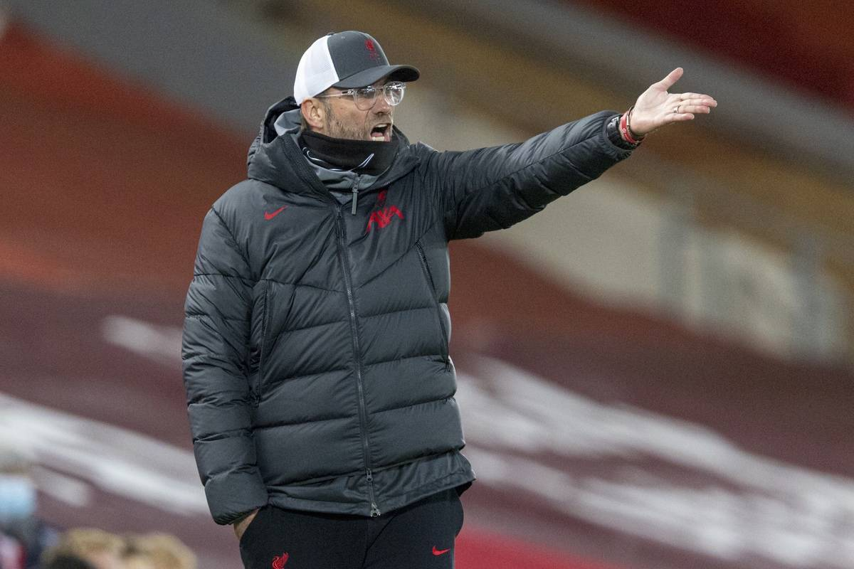 LIVERPOOL, ENGLAND - Sunday, December 6, 2020: Liverpool's manager Jürgen Klopp reacts during the FA Premier League match between Liverpool FC and Wolverhampton Wanderers FC at Anfield. (Pic by David Rawcliffe/Propaganda)