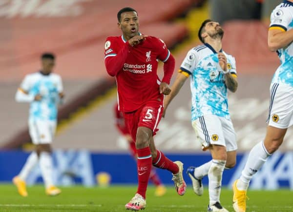 LIVERPOOL, ENGLAND - Sunday, December 6, 2020: Liverpool's Georginio Wijnaldum celebrates after scoring the second goal during the FA Premier League match between Liverpool FC and Wolverhampton Wanderers FC at Anfield. (Pic by David Rawcliffe/Propaganda)