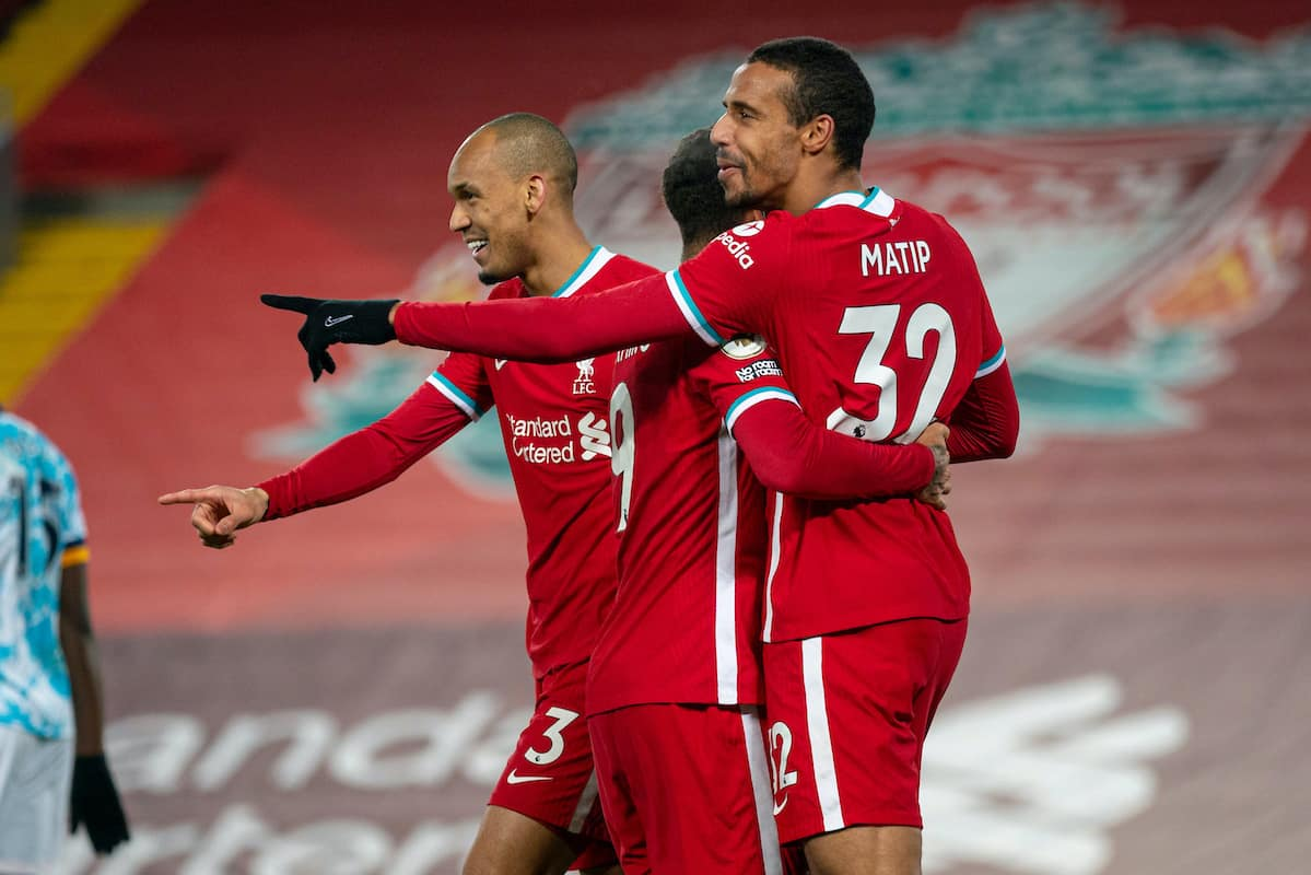 LIVERPOOL, ENGLAND - Sunday, December 6, 2020: Liverpool's Joel Matip (R) celebrates after scoring the third goal during the FA Premier League match between Liverpool FC and Wolverhampton Wanderers FC at Anfield. (Pic by David Rawcliffe/Propaganda)