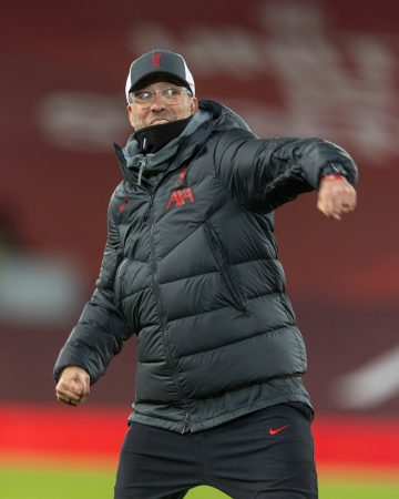 LIVERPOOL, ENGLAND - Sunday, December 6, 2020: Liverpool's manager Jürgen Klopp celebrates after the FA Premier League match between Liverpool FC and Wolverhampton Wanderers FC at Anfield. Liverpool won 4-0. (Pic by David Rawcliffe/Propaganda)