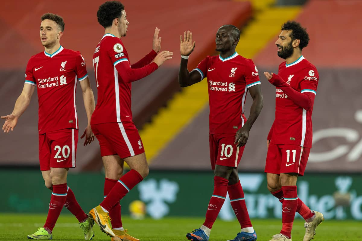 LIVERPOOL, ENGLAND - Sunday, December 6, 2020: Liverpool's Sadio Mané (2nd from R) celebrates after scoring the fourth goal with team-mates Curtis Jones (L) and Mohamed Salah (R) during the FA Premier League match between Liverpool FC and Wolverhampton Wanderers FC at Anfield. (Pic by David Rawcliffe/Propaganda)