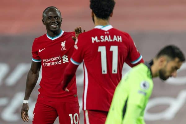 LIVERPOOL, ENGLAND - Sunday, December 6, 2020: Liverpool's Sadio Mané (L) celebrates after scoring the fourth goal during the FA Premier League match between Liverpool FC and Wolverhampton Wanderers FC at Anfield. Liverpool won 4-0. (Pic by David Rawcliffe/Propaganda)