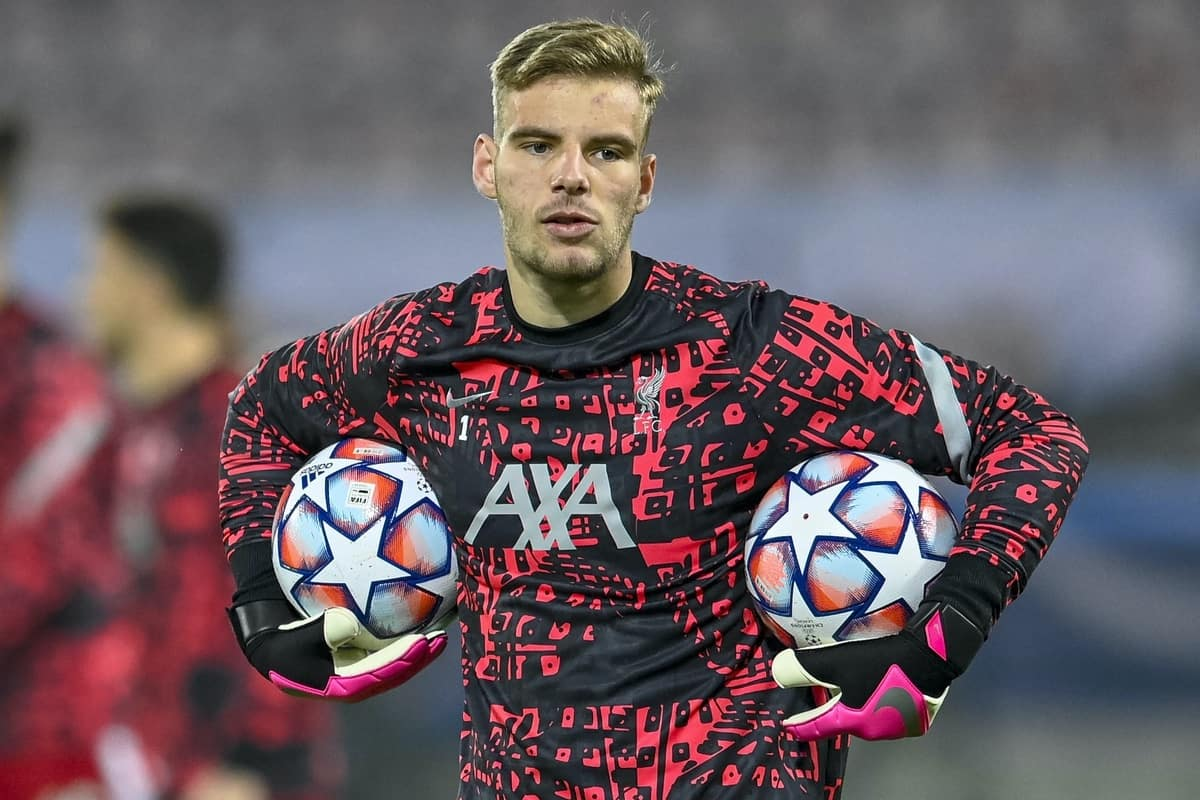 HERNING, DENMARK - Wednesday, December 9, 2020: Liverpool's goalkeeper Jaros Vitezslav during the pre-match warm-up before the UEFA Champions League Group D match between FC Midtjylland and Liverpool FC at the Herning Arena. (Pic by Lars Møller/Propaganda)