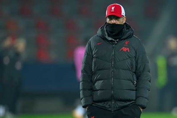 HERNING, DENMARK - Wednesday, December 9, 2020: Liverpool's manager Jürgen Klopp during the pre-match warm-up before the UEFA Champions League Group D match between FC Midtjylland and Liverpool FC at the Herning Arena. (Pic by Lars Møller/Propaganda)