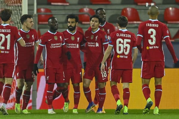 HERNING, DENMARK - Wednesday, December 9, 2020: Liverpool's Mohamed Salah (C) celebrates after scoring the first goal during the UEFA Champions League Group D match between FC Midtjylland and Liverpool FC at the Herning Arena. (Pic by Lars Møller/Propaganda)