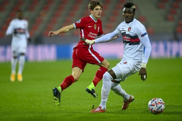 HERNING, DENMARK - Wednesday, December 9, 2020: Liverpool's Leighton Clarkson during the UEFA Champions League Group D match between FC Midtjylland and Liverpool FC at the Herning Arena. (Pic by Lars Møller/Propaganda)