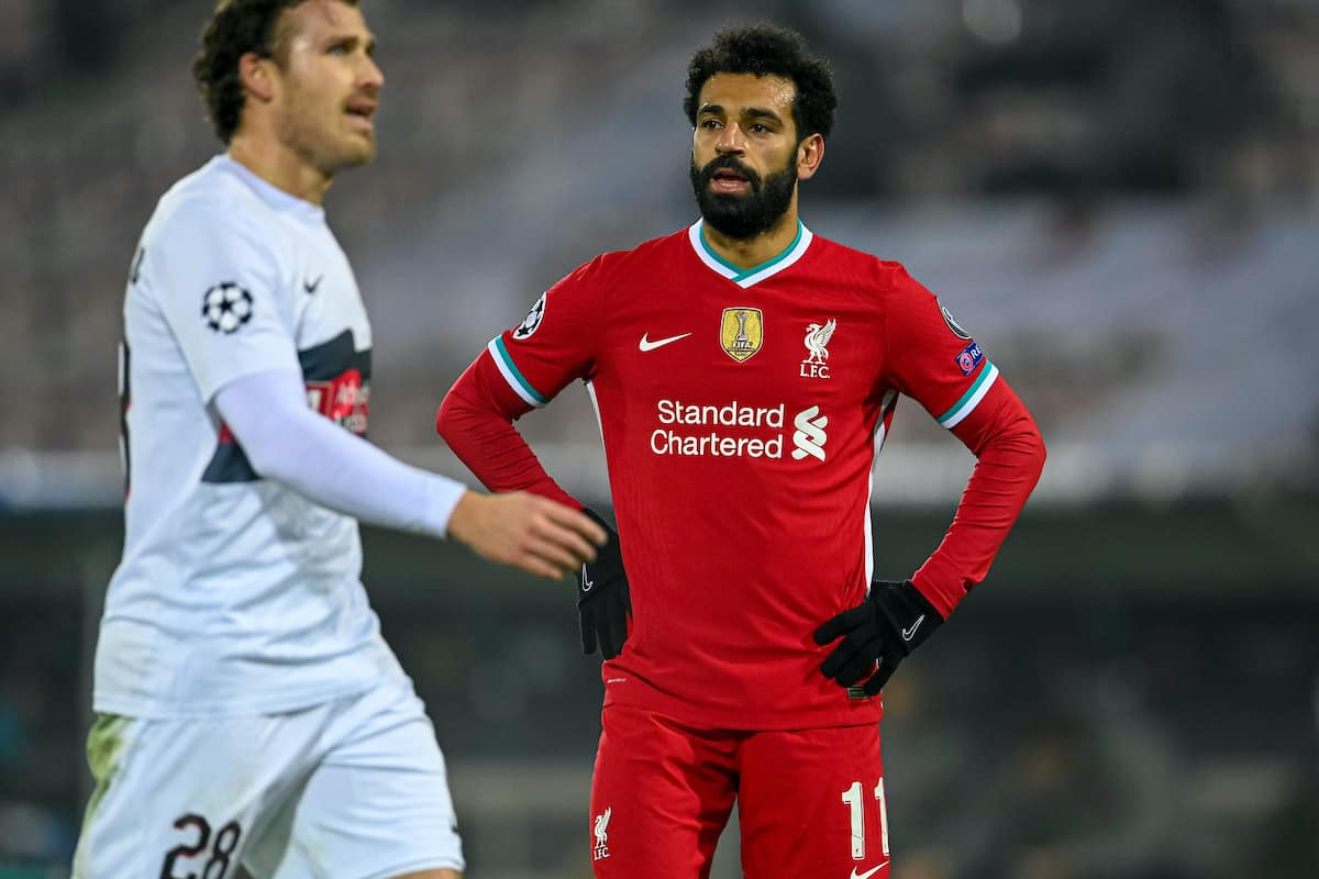 HERNING, DENMARK - Wednesday, December 9, 2020: Liverpool's Mohamed Salah during the UEFA Champions League Group D match between FC Midtjylland and Liverpool FC at the Herning Arena. (Pic by Lars Møller/Propaganda)