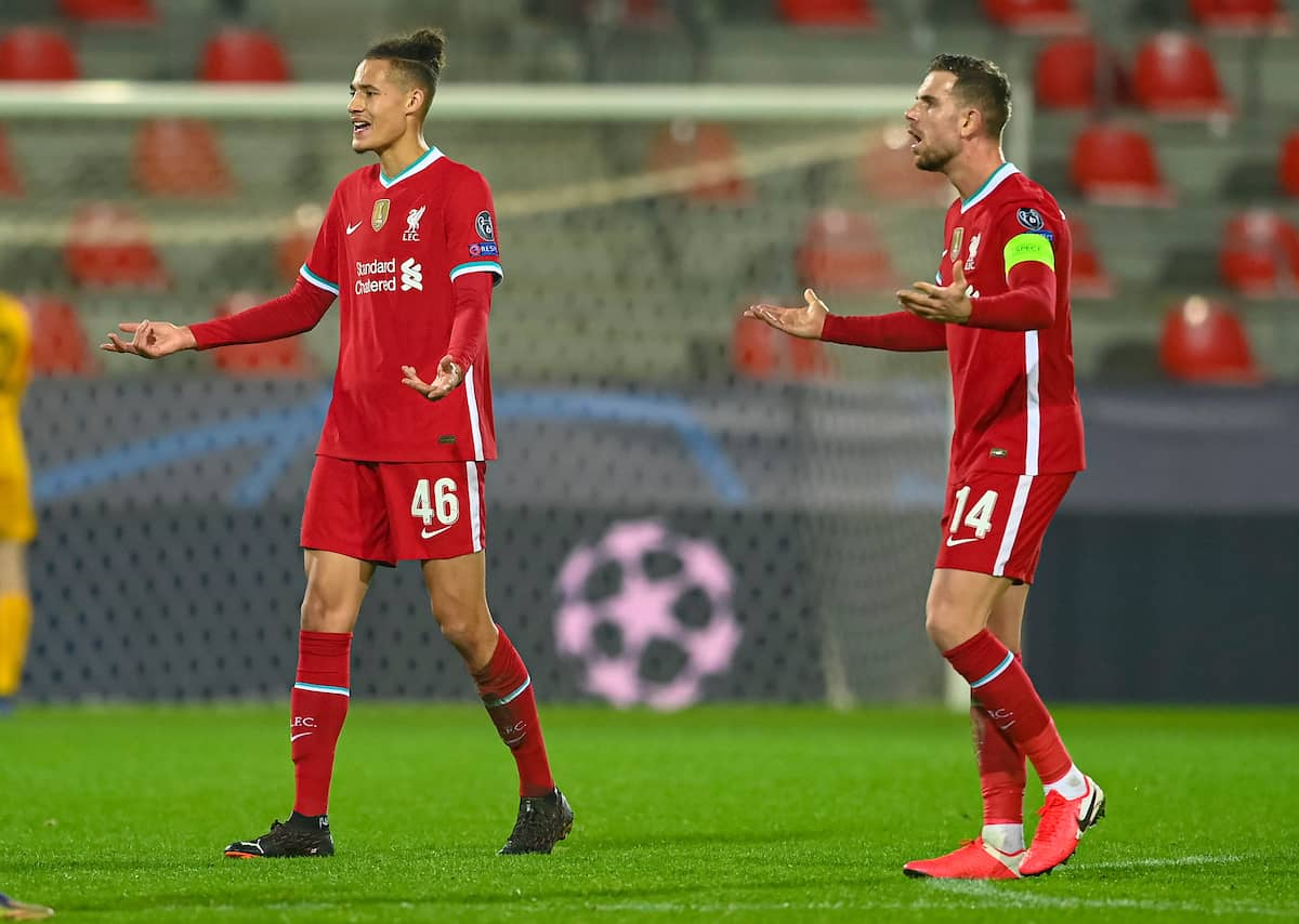HERNING, DENMARK - Wednesday, December 9, 2020: Liverpool's Rhys Williams (L) and captain Jordan Henderson during the UEFA Champions League Group D match between FC Midtjylland and Liverpool FC at the Herning Arena. (Pic by Lars Møller/Propaganda)