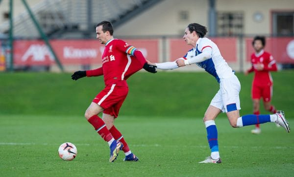 KIRKBY, ENGLAND - Saturday, December 12, 2020: Liverpool's captain Liam Millar (L) and Blackburn Rovers' Louie Annesley during the Premier League 2 Division 1 match between Liverpool FC Under-23's and Blackburn Rovers FC Under-23's at the Liverpool Academy. (Pic by David Rawcliffe/Propaganda)