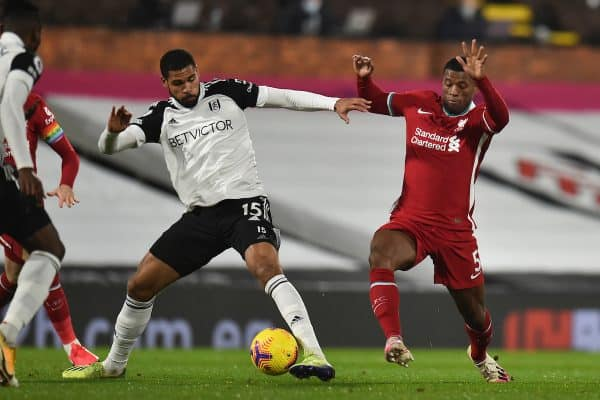 LONDON, ENGLAND - Sunday, December 13, 2020: Liverpool's Georginio Wijnaldum (R) and Fulham's Ruben Loftus-Cheek during the FA Premier League match between Fulham FC and Liverpool FC at Craven Cottage. (Pic by David Rawcliffe/Propaganda)