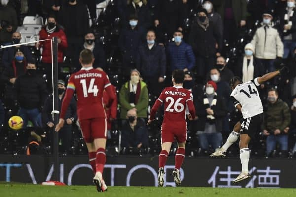 LONDON, ENGLAND - Sunday, December 13, 2020: Fulham's Bobby De Cordova-Reid scores the first goal during the FA Premier League match between Fulham FC and Liverpool FC at Craven Cottage. (Pic by David Rawcliffe/Propaganda)