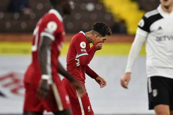 LONDON, ENGLAND - Sunday, December 13, 2020: Liverpool's Roberto Firmino looks dejected during the FA Premier League match between Fulham FC and Liverpool FC at Craven Cottage. (Pic by David Rawcliffe/Propaganda)