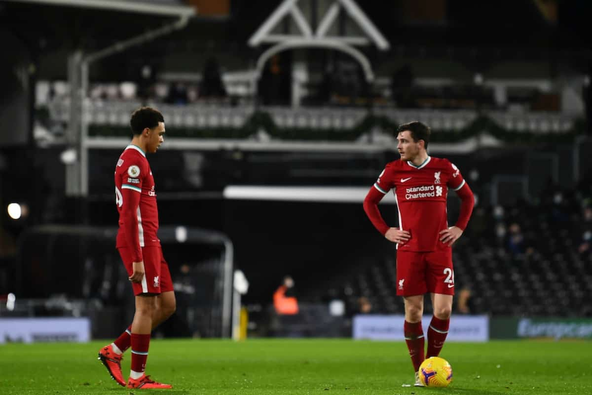 LONDON, ENGLAND - Sunday, December 13, 2020: Liverpool's Andy Robertson prepares to take a free-kick during the FA Premier League match between Fulham FC and Liverpool FC at Craven Cottage. (Pic by David Rawcliffe/Propaganda)