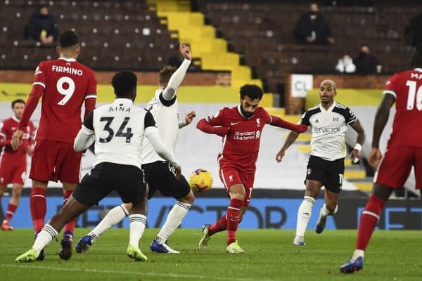 LONDON, ENGLAND - Sunday, December 13, 2020: Liverpool's Mohamed Salah during the FA Premier League match between Fulham FC and Liverpool FC at Craven Cottage. (Pic by David Rawcliffe/Propaganda)