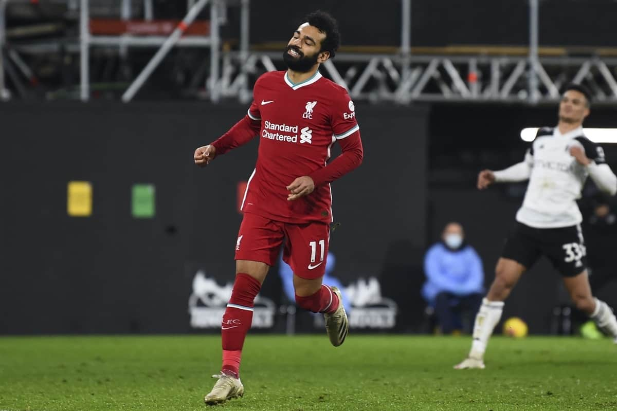 LONDON, ENGLAND - Sunday, December 13, 2020: Liverpool's Mohamed Salah celebrates after the first equalising goal from a penalty kick during the FA Premier League match between Fulham FC and Liverpool FC at Craven Cottage. (Pic by David Rawcliffe/Propaganda)
