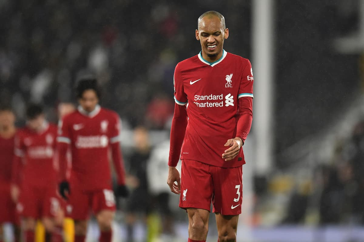 LONDON, ENGLAND - Sunday, December 13, 2020: Liverpool's Fabio Henrique Tavares 'Fabinho' looks dejected after the FA Premier League match between Fulham FC and Liverpool FC at Craven Cottage. The game ended in a 1-1 draw. (Pic by David Rawcliffe/Propaganda)