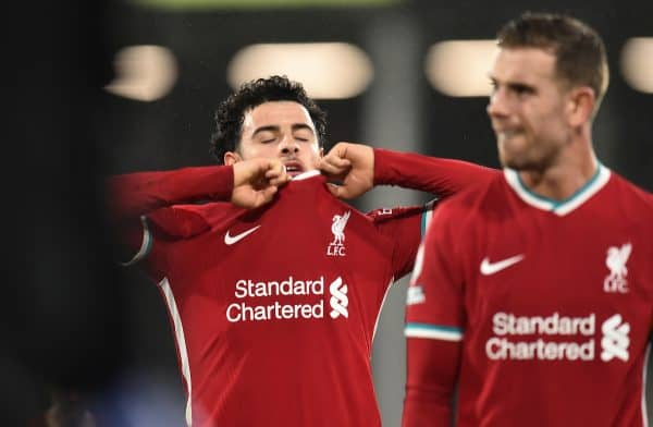 LONDON, ENGLAND - Sunday, December 13, 2020: Liverpool's Curtis Jones looks dejected after the FA Premier League match between Fulham FC and Liverpool FC at Craven Cottage. The game ended in a 1-1 draw. (Pic by David Rawcliffe/Propaganda)