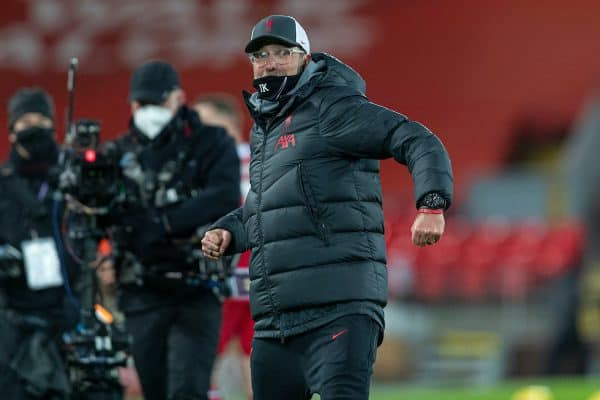LIVERPOOL, ENGLAND - Wednesday, December 16, 2020: Liverpool's manager Jürgen Klopp celebrates at the final whistle during the FA Premier League match between Liverpool FC and Tottenham Hotspur FC at Anfield. Liverpool won 2-1. (Pic by David Rawcliffe/Propaganda)