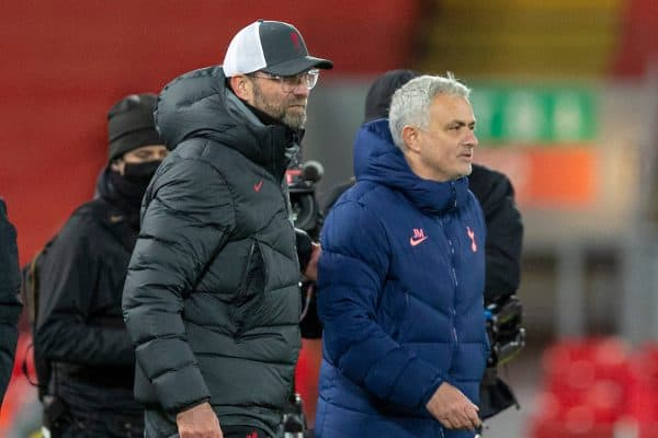LIVERPOOL, ENGLAND - Wednesday, December 16, 2020: Liverpool's manager Jürgen Klopp (L) and Tottenham Hotspur's manager José Mourinho at the final whistle during the FA Premier League match between Liverpool FC and Tottenham Hotspur FC at Anfield. Liverpool won 2-1. (Pic by David Rawcliffe/Propaganda)