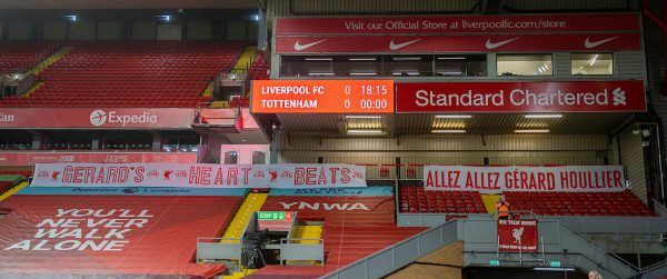 LIVERPOOL, ENGLAND - Wednesday, December 16, 2020: Liverpool supporters' tribute to former manager Gérard Houllier who passed away earlier in the week pictured before the FA Premier League match between Liverpool FC and Tottenham Hotspur FC at Anfield. (Pic by David Rawcliffe/Propaganda)