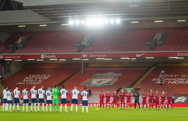LIVERPOOL, ENGLAND - Wednesday, December 16, 2020: Liverpool and Tottenham Hotspur players pay tribute to former Liverpool manager Gérard Houllier who passed away earlier in the week, before the FA Premier League match between Liverpool FC and Tottenham Hotspur FC at Anfield. (Pic by David Rawcliffe/Propaganda)