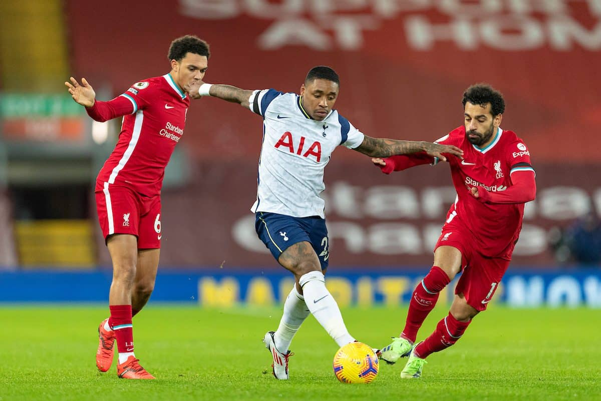 LIVERPOOL, ENGLAND - Wednesday, December 16, 2020: Tottenham Hotspur's Steven Bergwijn (C) is challenged by Liverpool's Trent Alexander-Arnold (L) and Mohamed Salah (R) during the FA Premier League match between Liverpool FC and Tottenham Hotspur FC at Anfield. (Pic by David Rawcliffe/Propaganda)